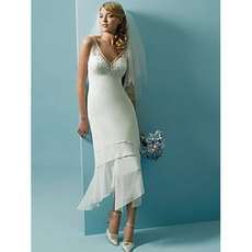 Chic Sheath V-neck Short Illusion Chiffon Tea Length Wedding Dresses
