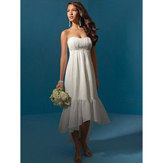 Sheath Strapless Tea Length Chiffon Beach High Low Wedding Dresses