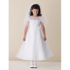 A-Line Short Sleeves Appliques Beading Organza First Communion Dresses