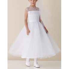 Ball Gown Sleeveless Ankle Length Tulle Beading First Communion Dresses/ Flower Girl Dresses
