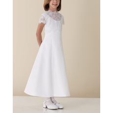 A-Line Illusion Neck Short Sleeves White First Communion Dresses with Lace Top