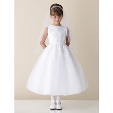 Little Girls Ball Gown Bateau Ankle Length White First Communion Dresses