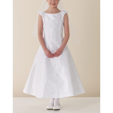 Designer A-Line Sleeveless Ankle Length Satin First Communion Dresses with Beadeding Appliques