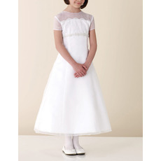 A-Line Short Sleeveless Tea-length Girls White First Communion Dresses