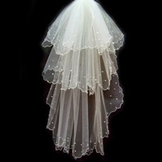 Beautiful 3 Layer Elbow with Beading Wedding Veil