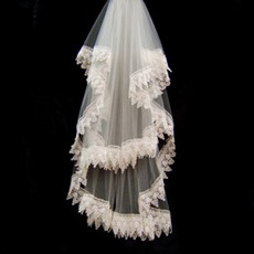 2 Layer Fingertip with Lace Wedding Veil
