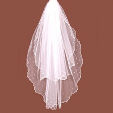 2 Layer Fingertip with Beading Wedding Veil