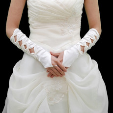 Elastic Satin Elbow Pattern With Beadings Wedding Gloves