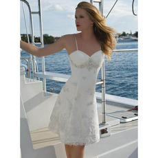 Column Beading Appliques Spaghetti Straps Short Beach/ Summer Sweetheart Wedding Dresses