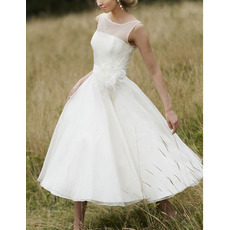 Elegant A-Line Bateau Tea Length Organza Wedding Dresses with 3D-flowers and Feather