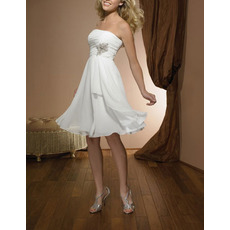 Inexpensive A-Line Strapless Short Chiffon Summer Simple Wedding Dress with Ruched Bodice