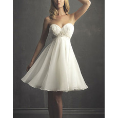 Custom A-Line Sweetheart Short Chiffon Summer Knee Length Bridal Gowns