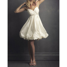 Cute Beaded Empire Spaghetti Strap Knee Length Taffeta Bridal Wedding Dress with Bubble Skirt