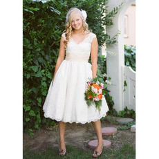 Custom Ball Gown V-Neck Short Lace Tea Length Wedding Dresses with Pleated Waist
