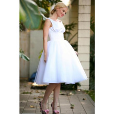 Ball Gown Round/ Scoop Sleeveless Knee Length Organza Wedding Dresses