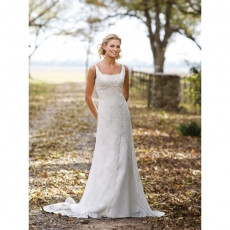Romantic Exquisite Beaded Square Straps Chapel Beading Satin Lace Outdoor Wedding Dresses