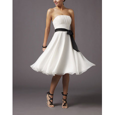 Elegant A-line Strapless Bridesmaid Dresses/ Knee Length Chiffon Satin Sash White Wedding Party Dresses