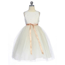 Ball Gown Bateau Satin Tulle Colored Ankle Length Flower Girl Dresses