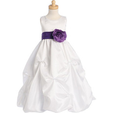 Cute A-line Long Taffeta Bow Flower Girl Dresses with Floral Belt