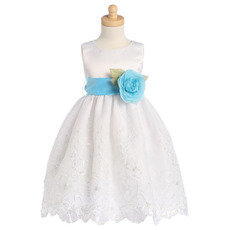 Ball Gown Tea Length Embroidery Flower Girl Dresses with Floral Sash
