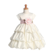 Pretty Ball Gown Tea Length Colored Little Girl Dress with Floral Sash