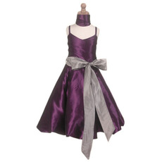 A-line Spaghetti Straps Ankle Length Taffeta Little Girl Dresses with Sash
