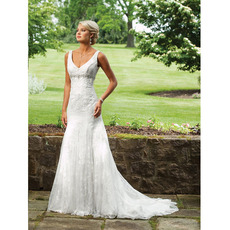 Inexpensive Glamorous Mermaid Deep V-Neck Long Lace Outdoor Wedding Dresses with Beaded