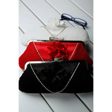 Inexpensive Satin Evening Handbags/ Clutches/ Purses with Flower