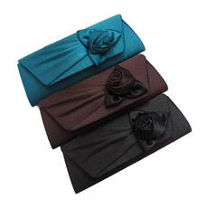 Beautiful Satin Evening Handbags/ Clutches/ Purses with Flower