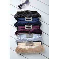 Fitted Satin Evening Handbags/ Clutches/ Purses with Rhinestone
