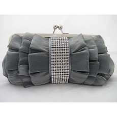 Elegant Silk Evening Handbags/ Clutches/ Purses with Rhinestone
