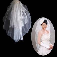 2 Layers Tulle Wedding Veil with Beading