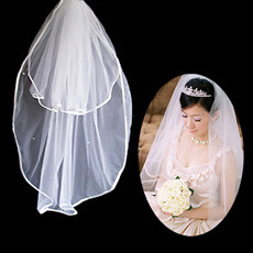 2 Layers Tulle Wedding Veil with Ribbon