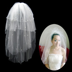 4 Layers Tulle Wedding Veil with Beading