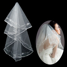 1 Layer Tulle Wedding Veil with Applique