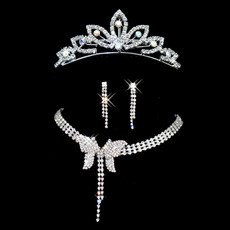 Crystal and Rhinestone Earring Necklace Tiara Set Wedding Bridal Jewelry Collection