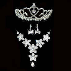 Crystal Earring Necklace Tiara Set Wedding Bridal Jewelry Collection
