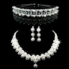 Popular Crystal Earring Necklace Tiara Set Wedding Bridal Jewelry Collection