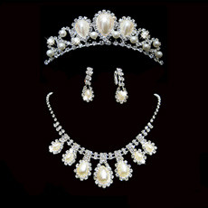 Elegant Crystal Earring Necklace Tiara Set Wedding Bridal Jewelry Collection