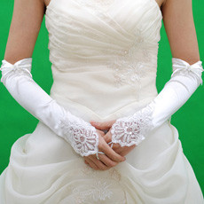 Elastic Satin 3/4 Length Wedding Gloves with Embroidery and Beading