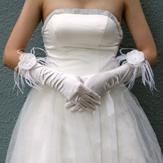 Elastic Satin Elbow Wedding Gloves with Flower