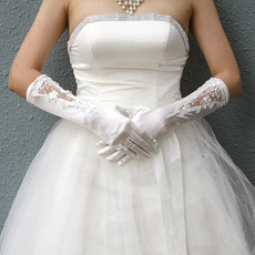 Elastic Satin Elbow Wedding Gloves with Applique