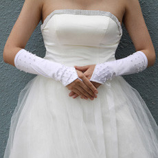 Elastic Satin Elbow Wedding Gloves with Beading