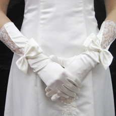 Elastic Satin and Lace Elbow Wedding Gloves with Bowknot