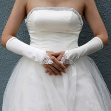 Elastic Satin Elbow Hollow-Out Wedding Gloves with Embroidery
