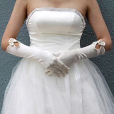Elastic Satin Elbow Wedding Gloves with Bowknot