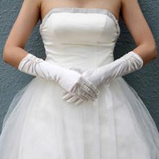 Elastic Satin Elbow Wedding Gloves