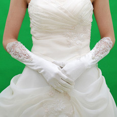 Elastic Satin Elbow Wedding Gloves with Emboidery