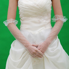 Voile Elbow Wedding Gloves with Ruffle