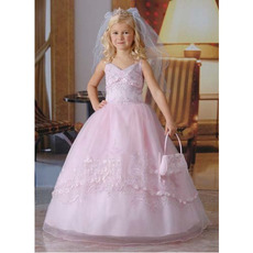 Designer Spaghetti Strap Ball Gown Organza First Communion Dresses with Beaded Appliques